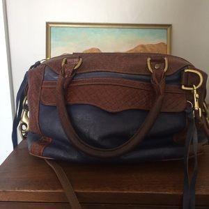 Rebecca Minkoff blue & brown basketweave mini MAB